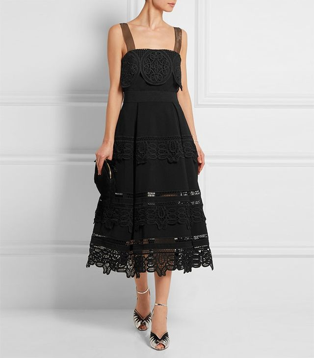 Self-Portrait Guipure Lace-Paneled Midi Dress