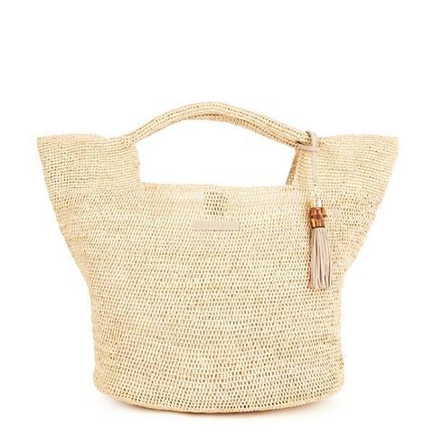 Grace Bay Large Raffia Bucket Bag in Natural