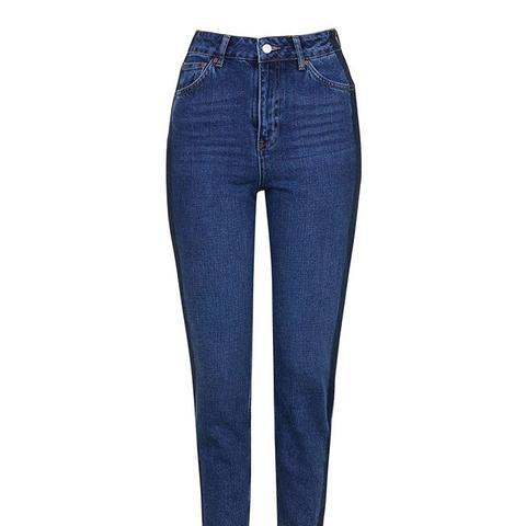 Moto Side Stripe Mom Jeans