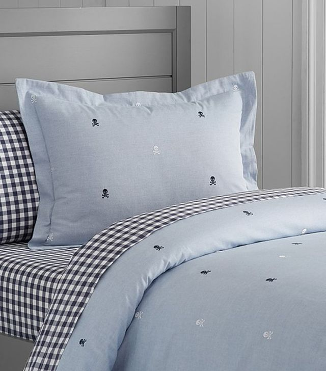Pottery Barn Kids Oxford Embroidered Skull Duvet Cover