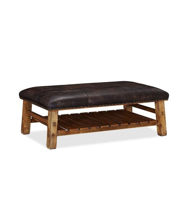 Pottery Barn Caden Leather Rectangular Ottoman