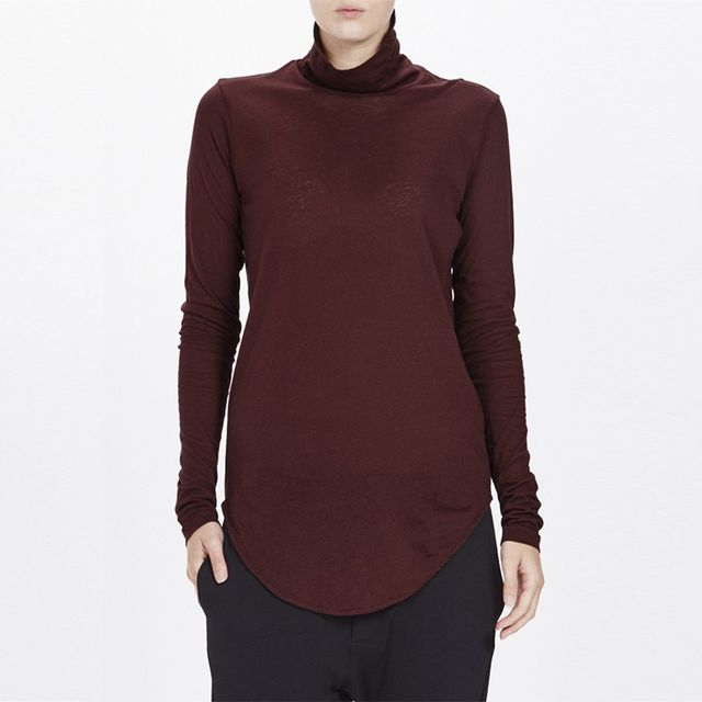 Bassike Funnel Neck Long Sleeve Shirt