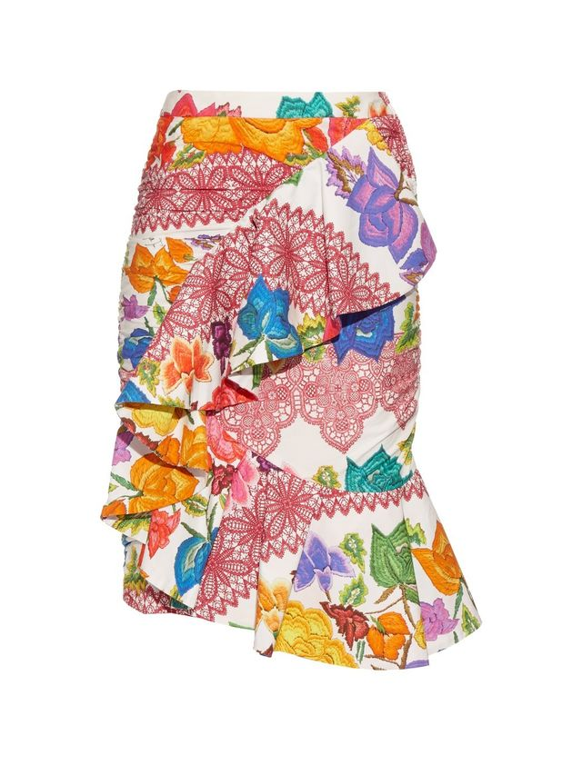 Stella Jean Ruffled Floral-Print Cotton Skirt