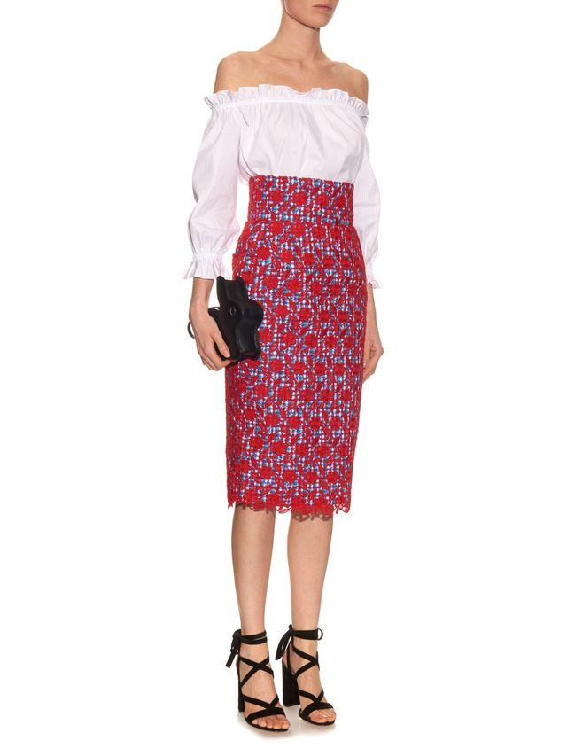 Stella Jean Floral-Lace Skirt with Gingham Lining