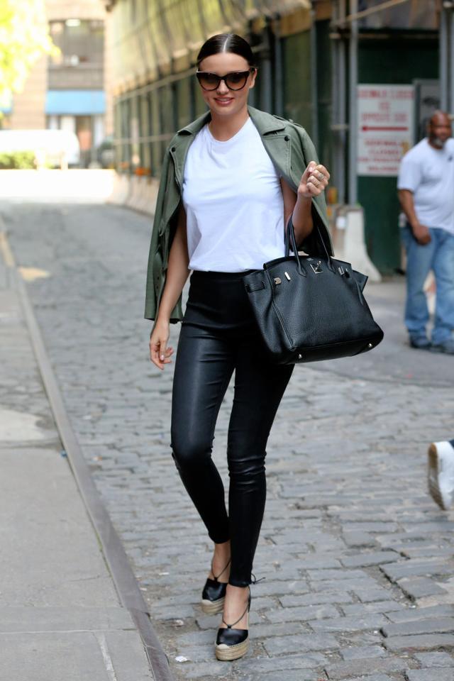On Miranda Kerr:Hermes Birkin Bag, Saint Laurent Leather Espadrille Sandals($365).