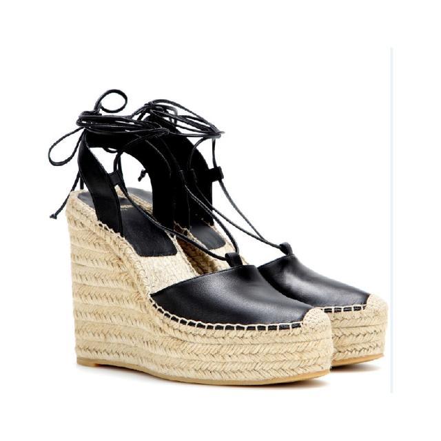 Saint Laurent Leather Espadrille Sandals