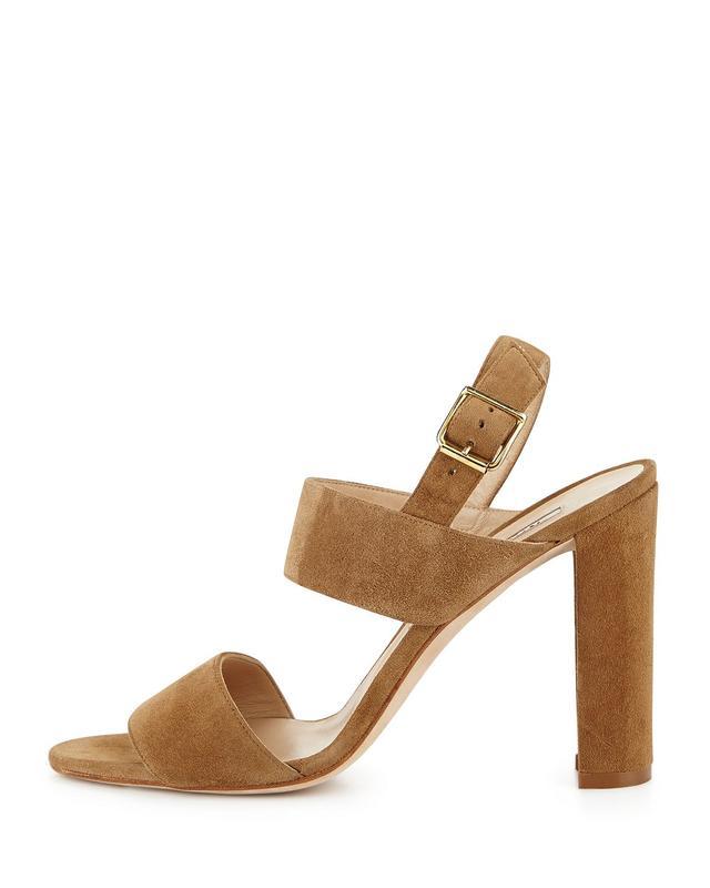 Manolo Blahnik Kahn Suede Double-Band Sandals