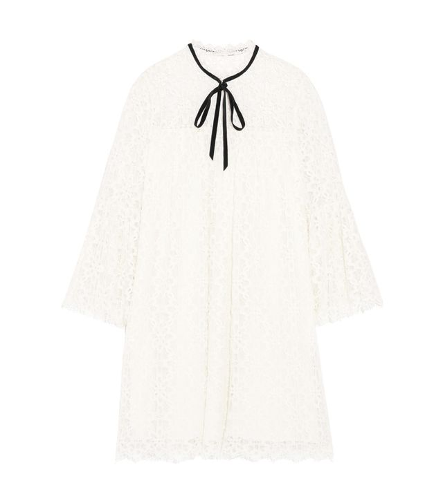 how to choose your wedding dress: Temperley London Eclipse Pussy-Bow Guipure Lace Mini Dress