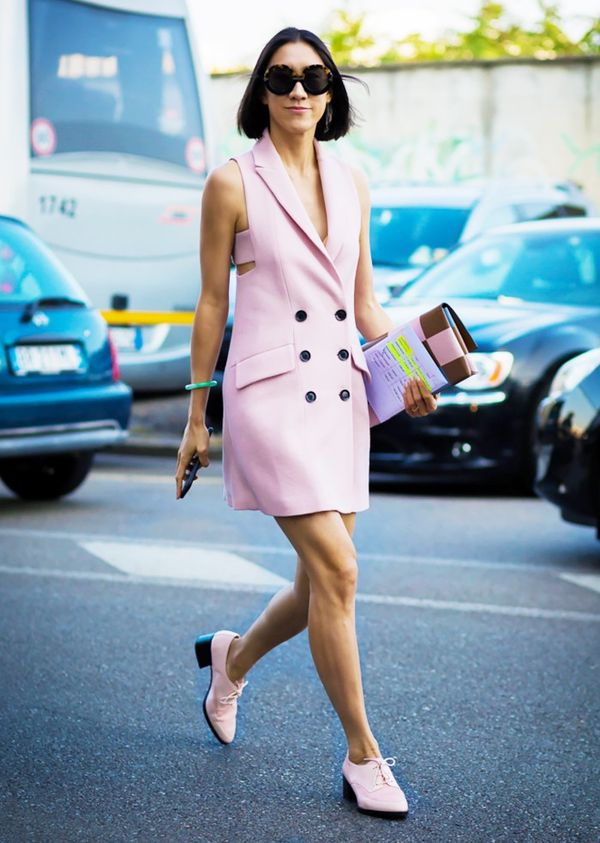 Wear pink tailoring with pink shoes for a sleek finish.