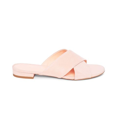 Suede Flat Crossover Sandals in Rosa
