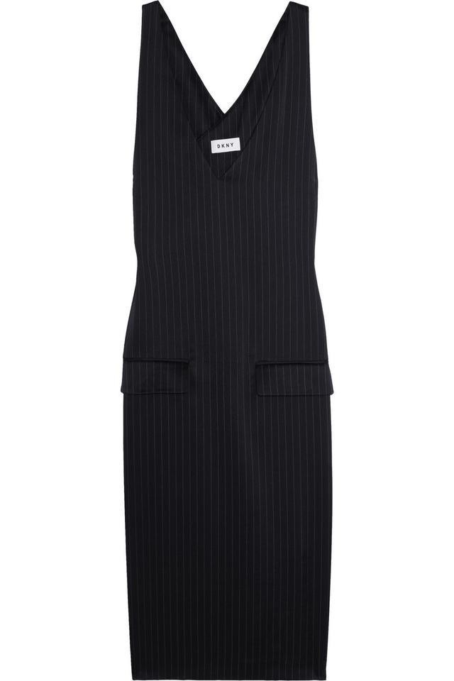 DKNY Pinstriped Satin Dress