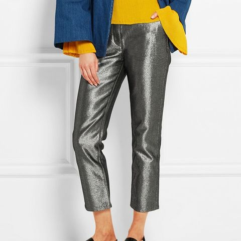 Cropped Metallic Jeans