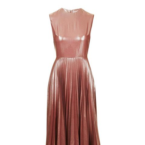 Metallic Lame Pleated Midi Dress ($