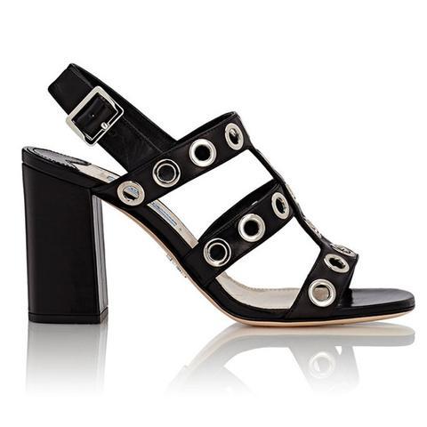 Grommet-Embellished Slingback Sandals