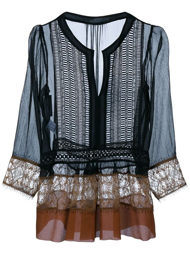 Alberta Ferretti Silk Blouse With Lace Trim