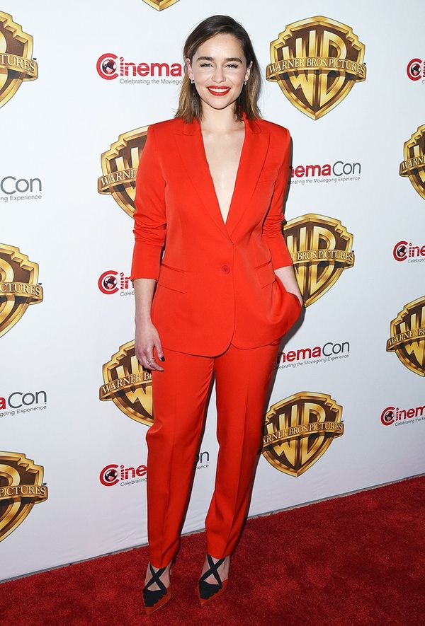 Style Notes: Even the more daunting prospect of a trouser suit is no match for Emilia: The slim, tailored fit of this Altuzarra number, worn with sky-high heels sans top, works a treat.