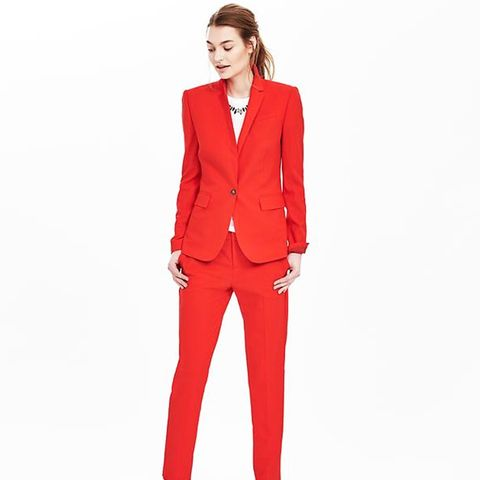 Red Lightweight Wool One-Button Blazer