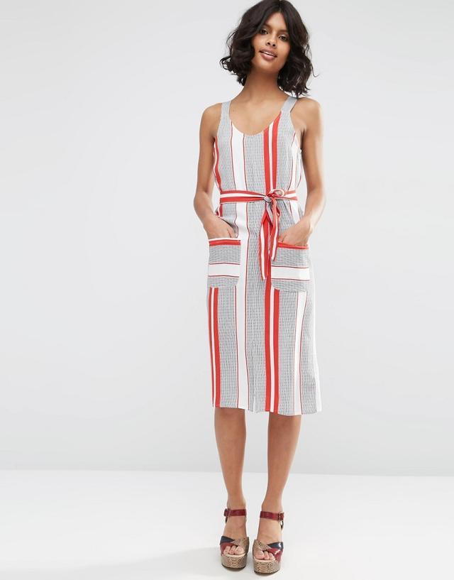 ASOS Stripe Wide Strap Cami Sundress With Pocket Detail