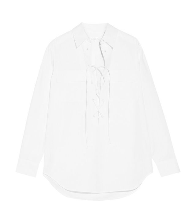 Equipment Knox Lace-Up Cotton-Poplin Shirt