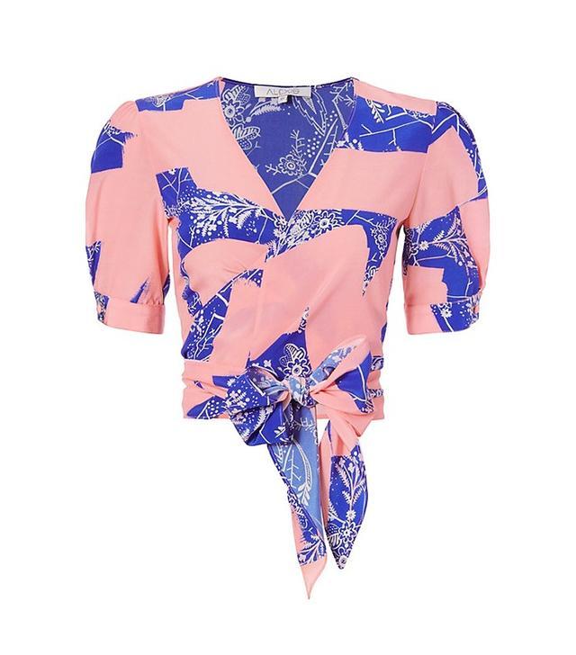 Alexis Noly Coral Lush Print Tie Hem Blouse
