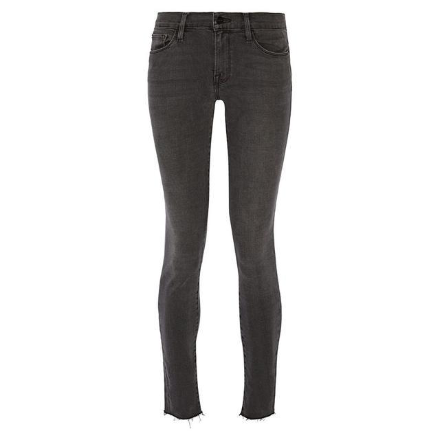 Frame Denim Le Skinny de Jeanne Frayed Mid-Rise Jeans