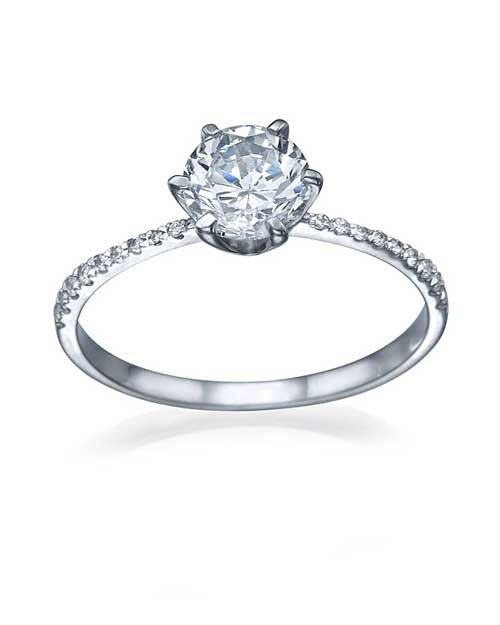 Shiree Odiz Platinum Thin 6-Prong Pave Set 1 Ct. Round Solitaire Engagement Ring