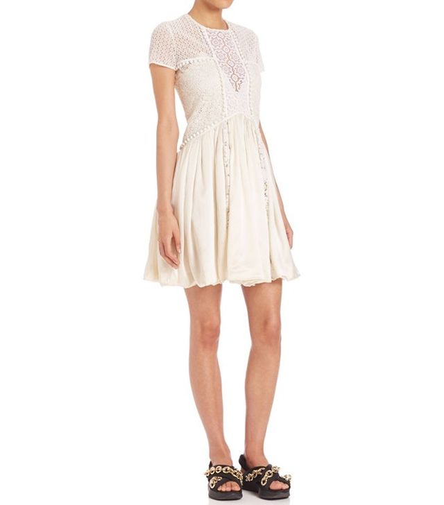 Burberry Lace Bubble-Hem Dress
