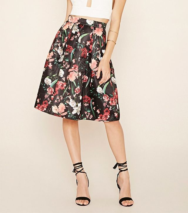 Forever 21 Floral A-Line Skirt