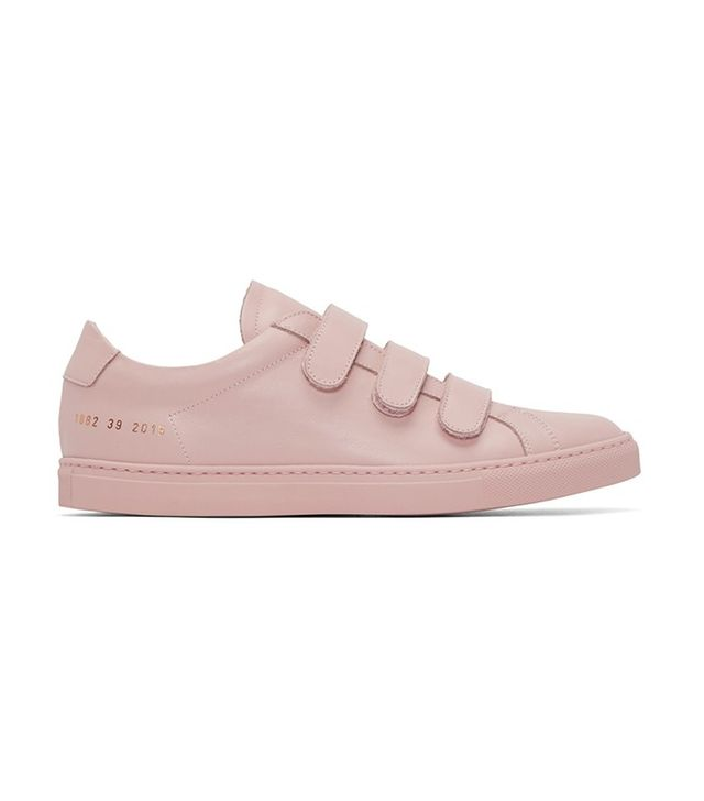 Common Projects Pink Achilles Three Strap Sneakers