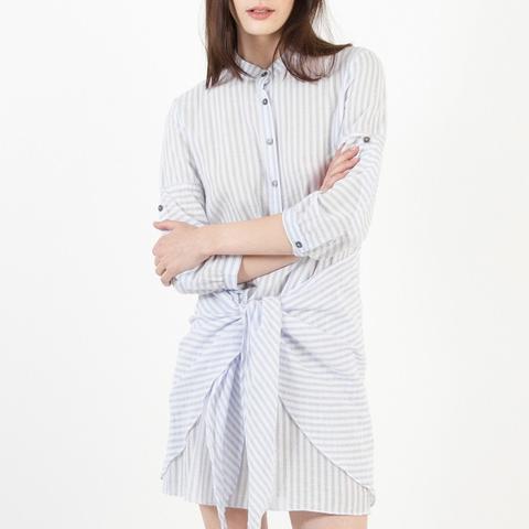 Lena Tie-Front Striped Shirtdress
