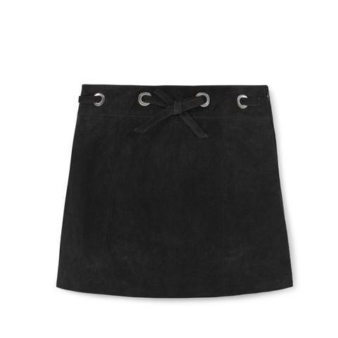 Appliqué Suede Skirt