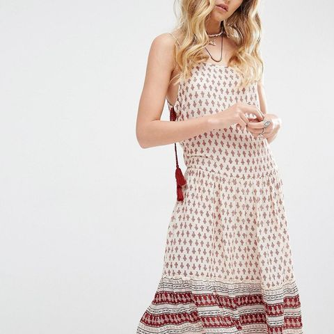 Cami Midi Dress With Tie Sides and Printed Hem Detail
