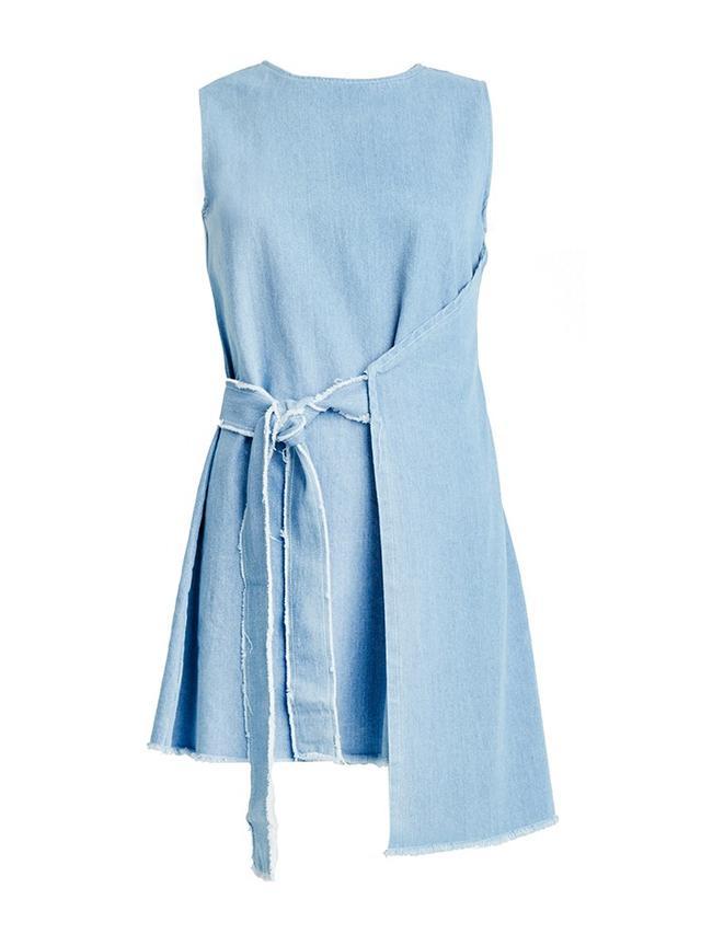 Pixie Market Frayed Denim Wrap Dress