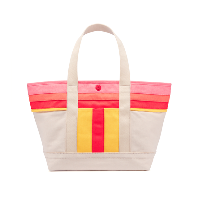 Tory Burch Stripe-T Canvas Small Tote