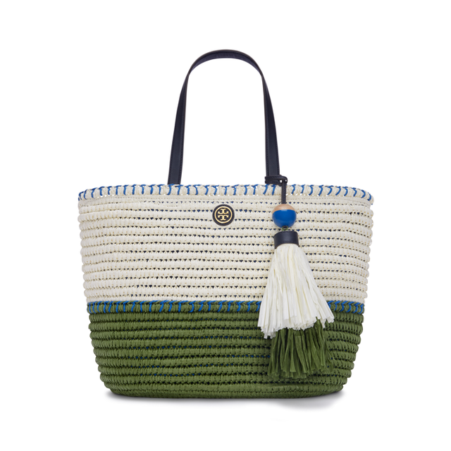 Tory Burch Straw Small Tote