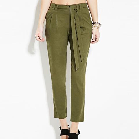 Belted Linen-Blend Pants