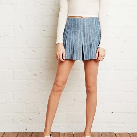 Pleated Denim Shorts