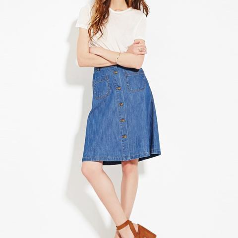Contemporary Buttoned Denim Skirt