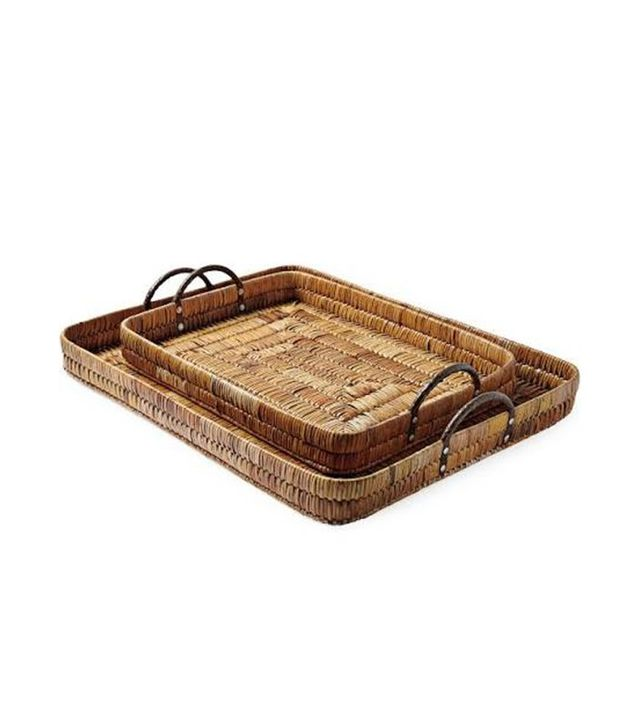 Serena & Lily Sag Harbor Rattan Trays (Set of 2)