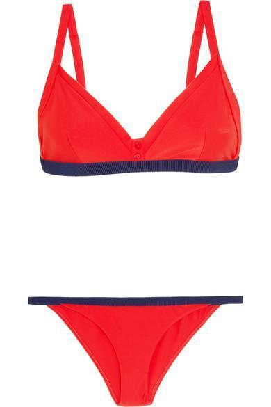 Zesty Grosgrain-trimmed Triangle Bikini