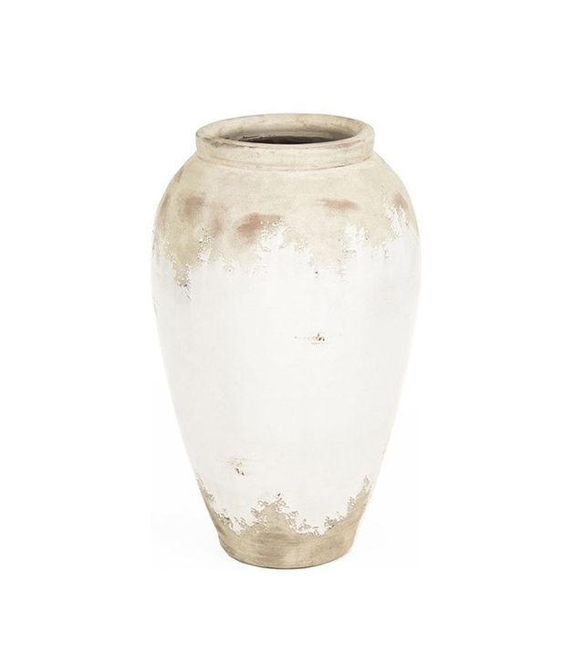 Kathy Kuo Home Siena White Rustic Distressed Ceramic Vase