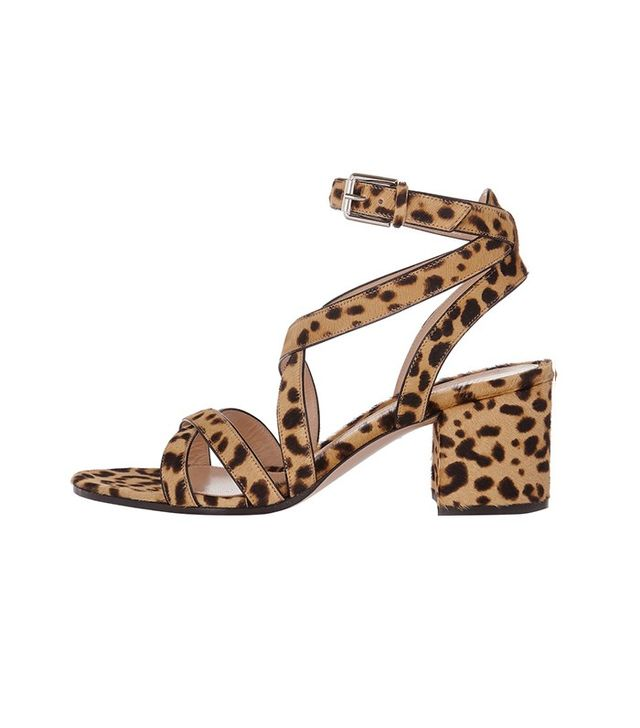 Gianvito Rossi Leopard-Print Calf Hair Sandals
