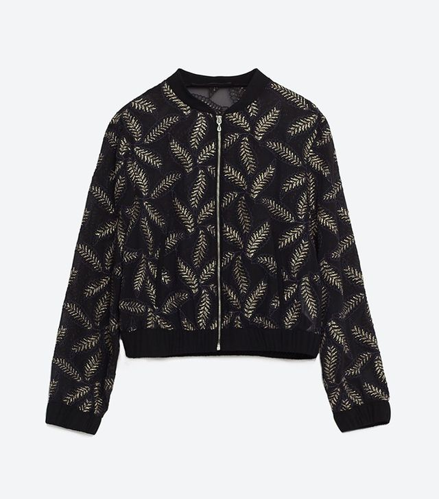 Zara Sheer Bomber Jacket With Leaf Embroidery