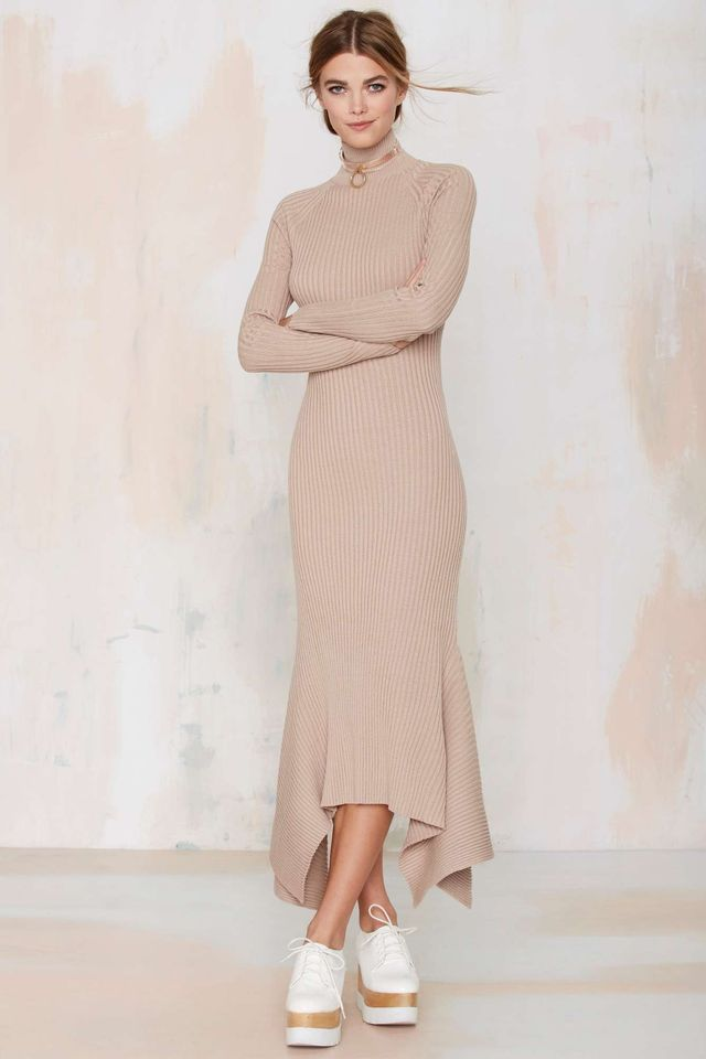 Nasty Gal Kozmic Ribbed Knit Maxi Dress