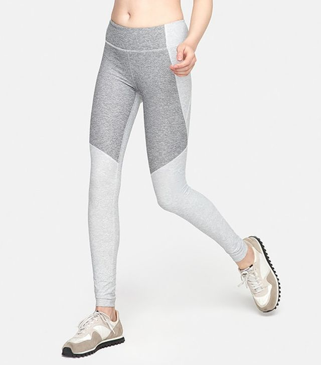 Outdoor Voices Two-Tone Warmup Leggings in Dove & Ash