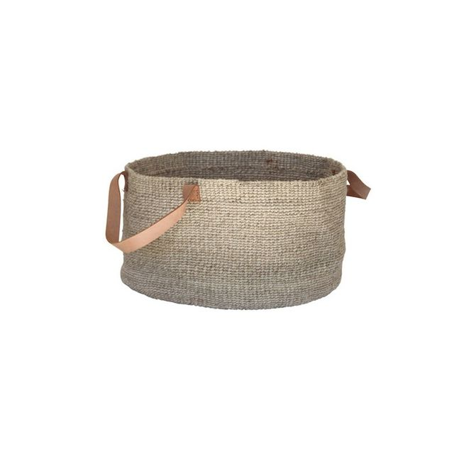 The Dharma Door Solo Woven Basket with Leather Handles - Natural