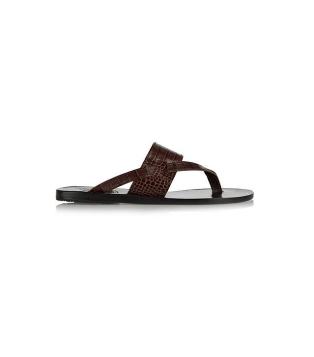 Ancient Greek Sandals Zenobia Croc-Effect Leather Sandals