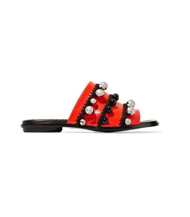 Proenza Schouler Bead-Embellished Leather Slides
