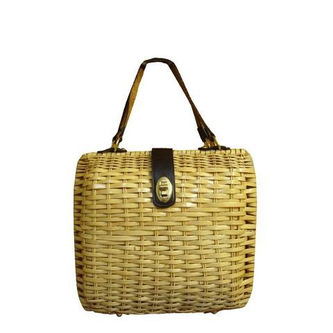 Coated Wicker Woven Basket Purse