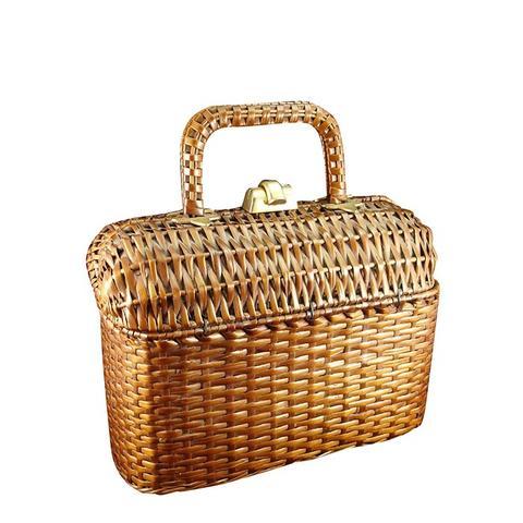 60s Koret Woven Basket Box Bag